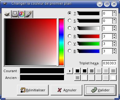 palette couleur gimp