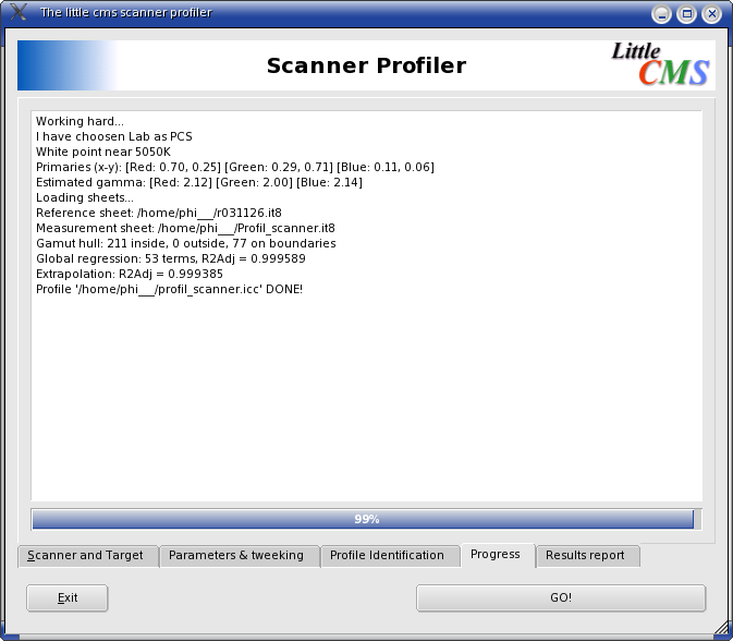 Scanner Profiler Progress