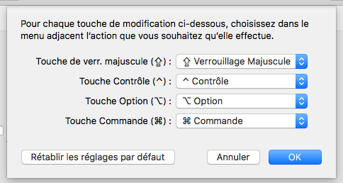 Écran « Touches de modifications »