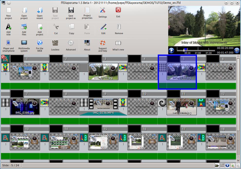 Una de las ventanas de ffDiaporama que muestra una serie de imágenes ordenadas secuencialmente.