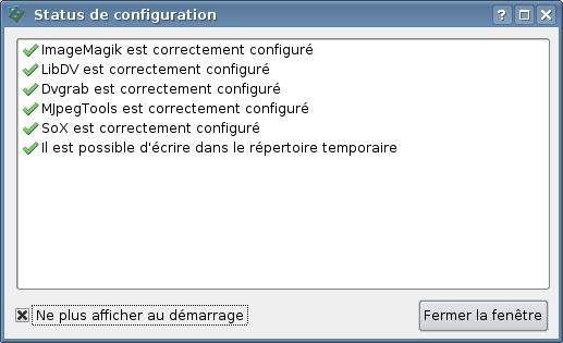 Vérification de la configuration
