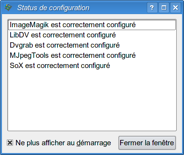 V&eacute;rification de la configuration