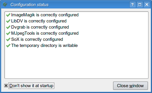 Check configuration window