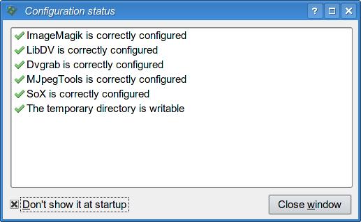 Check configuration window