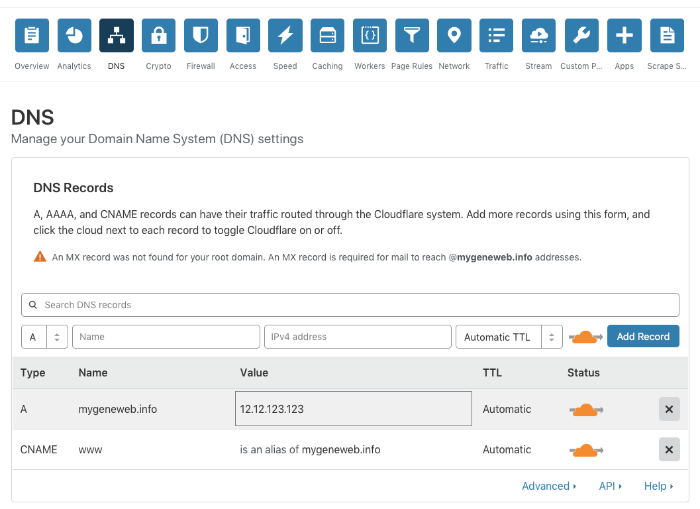 """Screenshot of Cloudflare web site for DNS setup"""
