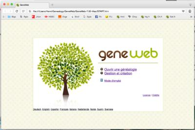 Page de démarrage de GeneWeb.