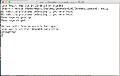 Traces sur un terminal au démarrage de GeneWeb.