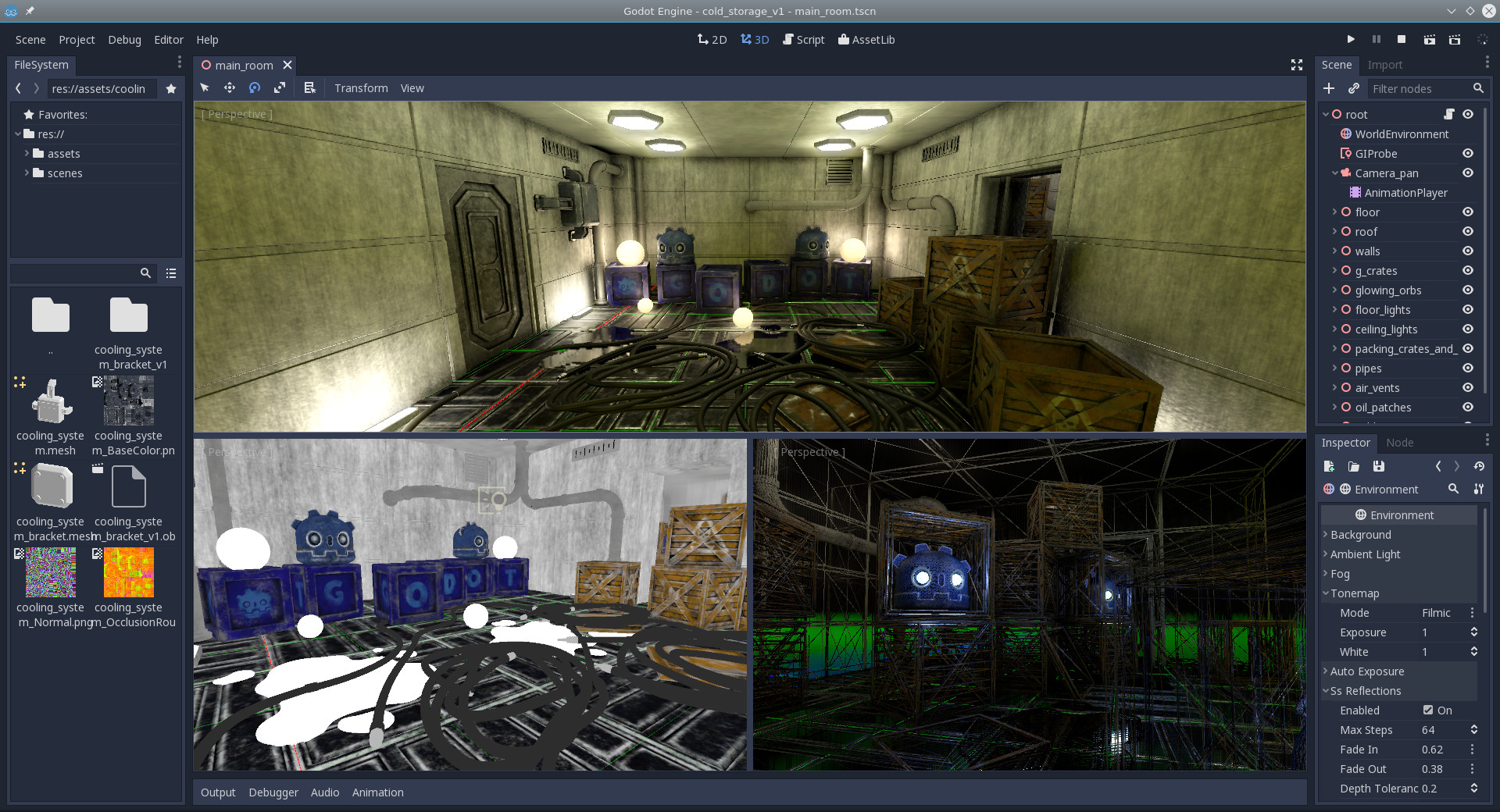 Screenshot of a 3D scene in Godot Engine