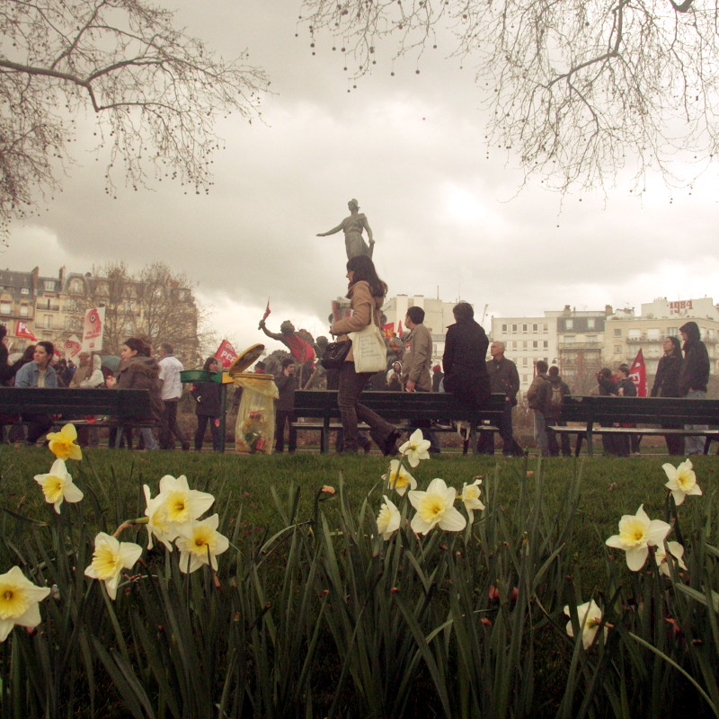 Daffodils in the grass in the foreground, place de la Nation in Paris from where a protest starts.