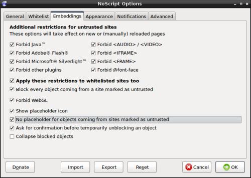 """NoScript - Onglet """"Embeddings"""""""