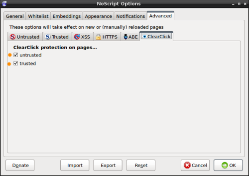 """NoScript - Onglet """"Clearclick"""""""