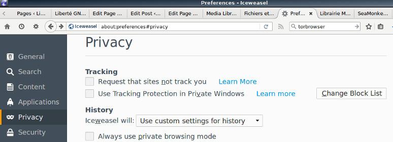 Firefox - aperçu vie privée