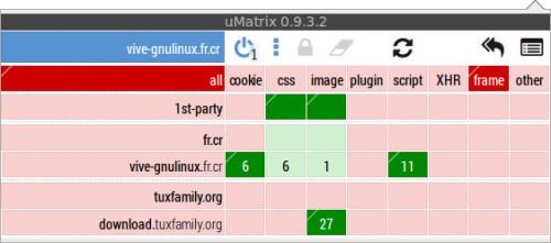 uMatrix - couleurs - domaine en cours