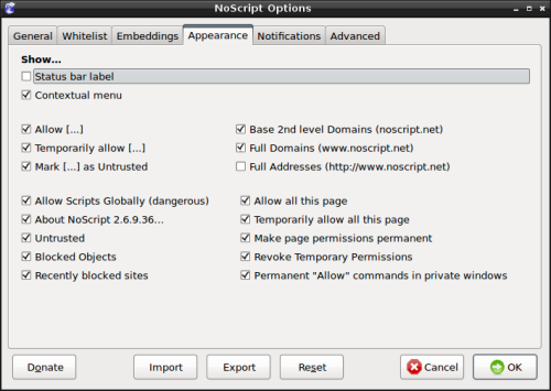 "NoScript - Onglet ""Interface"""