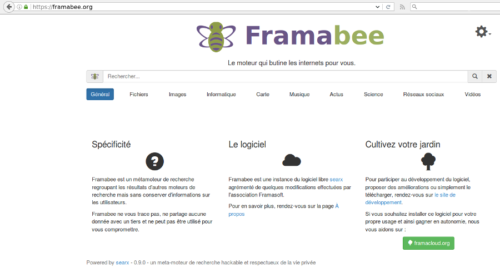 Page Searx, Framabee