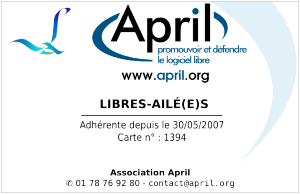 Carte adhérent Libres-Ailé(e)s APRIL