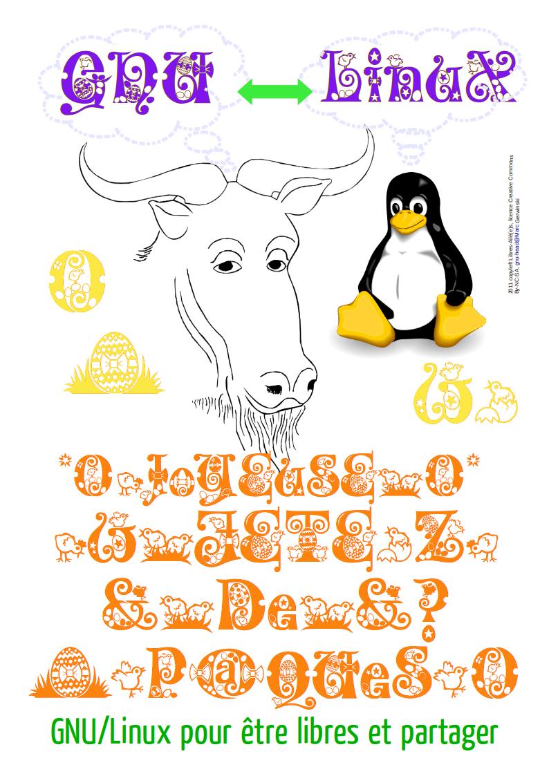 Image avec GNU/Linux et œufs de Pâques