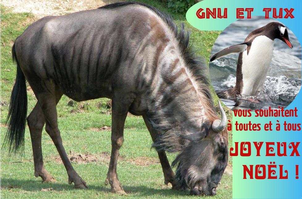 GNU et Tux vous souhaitent un joyeux Noël