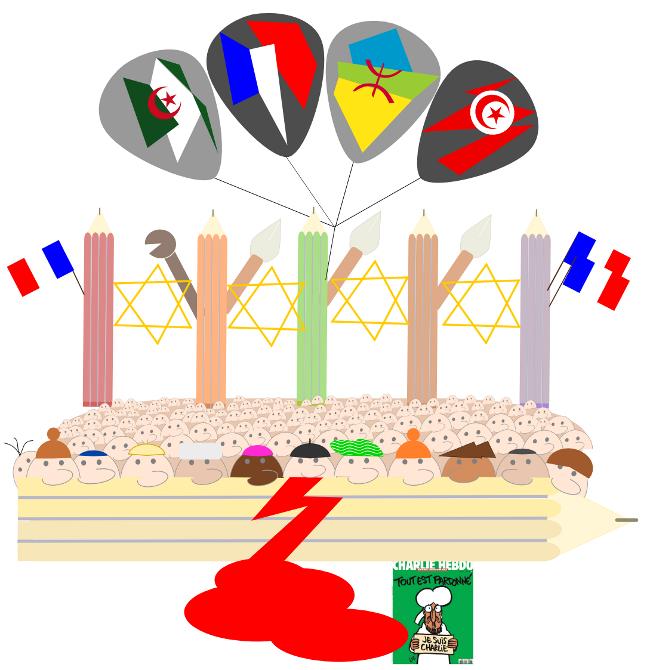 crayons, drapeaux et foule