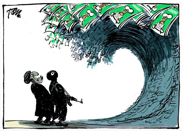 Raz de marée Charlie Hebdo,  Dessin de Tom Janssen