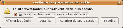 popup d'alerte de cookie