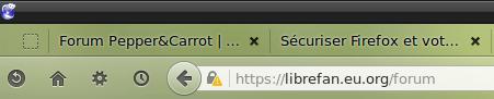 Verrou avec triangle dans barre URL de Firefox