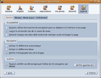 Fenêtre «Avancé», de Firefox 3.5