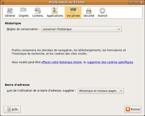 onglet vie privée, Firefox 3.5