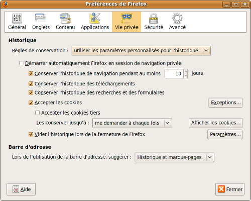 onglet vie privée complet, Firefox 3.5