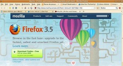 Page de téléchargement sur Mozilla.com