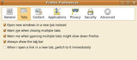 Paramètres Onglets dans Firefox3.6