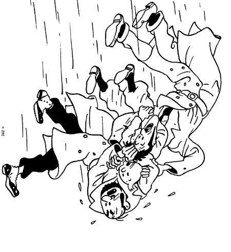 Tintin et autres tombant à la renverse