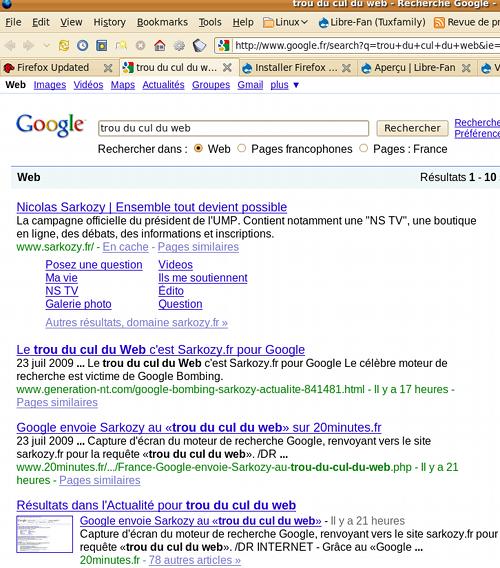 Page de recherche dans Google