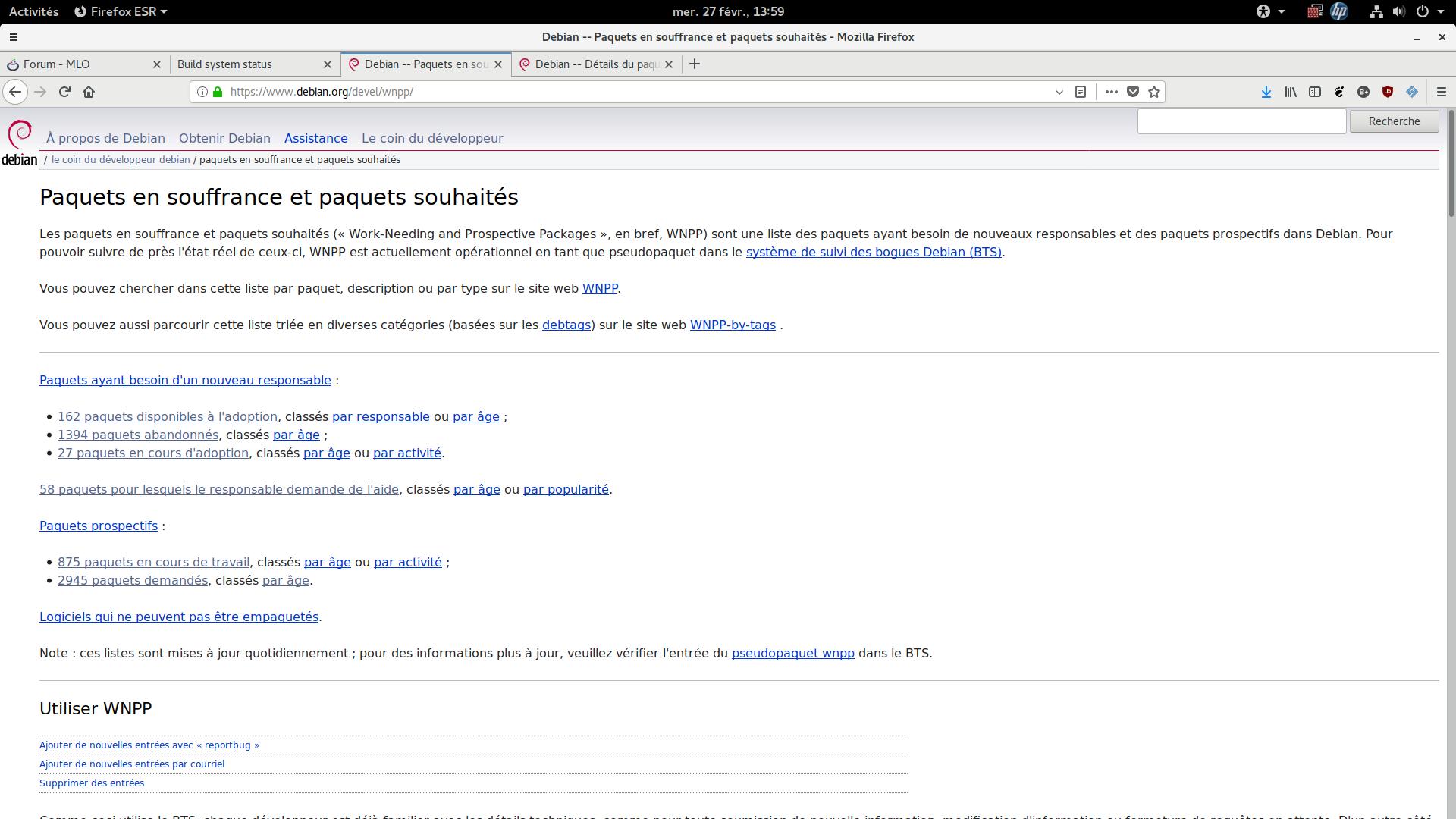 capture site Debian orphelins