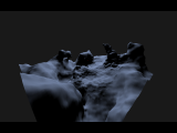 A perlin-based density function is used to generate a random terrain